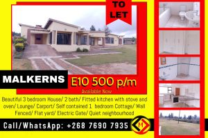MALKERNS...Beautiful 3 bed House + Cottage To Let at  for E10500.00