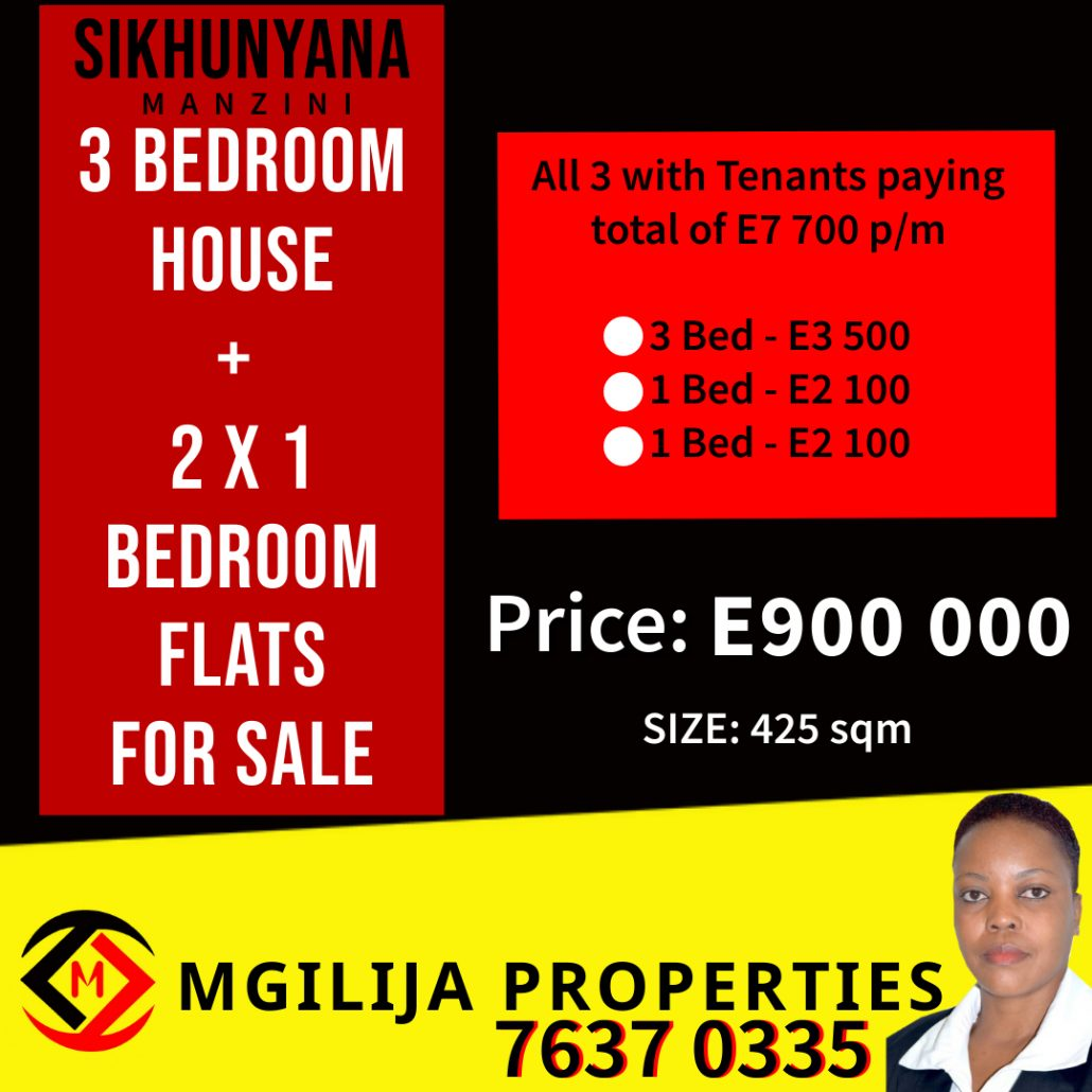 MANZINI - Sikhunyana Township... 3 Bed House + 2 x 1 Bed Flats For Sale